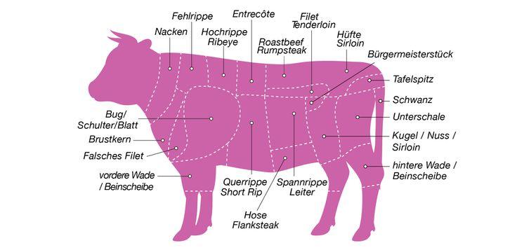 Grafik der Cuts vom Rind